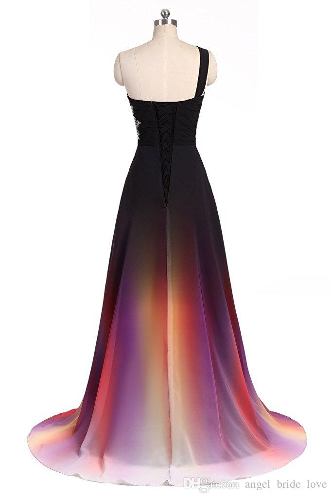 2017 New Elegante Sfumato Prom Dresses con Perline Appliques Piano-Lunghezza Abiti da festa Abiti formali Vestido De Festa QS1086