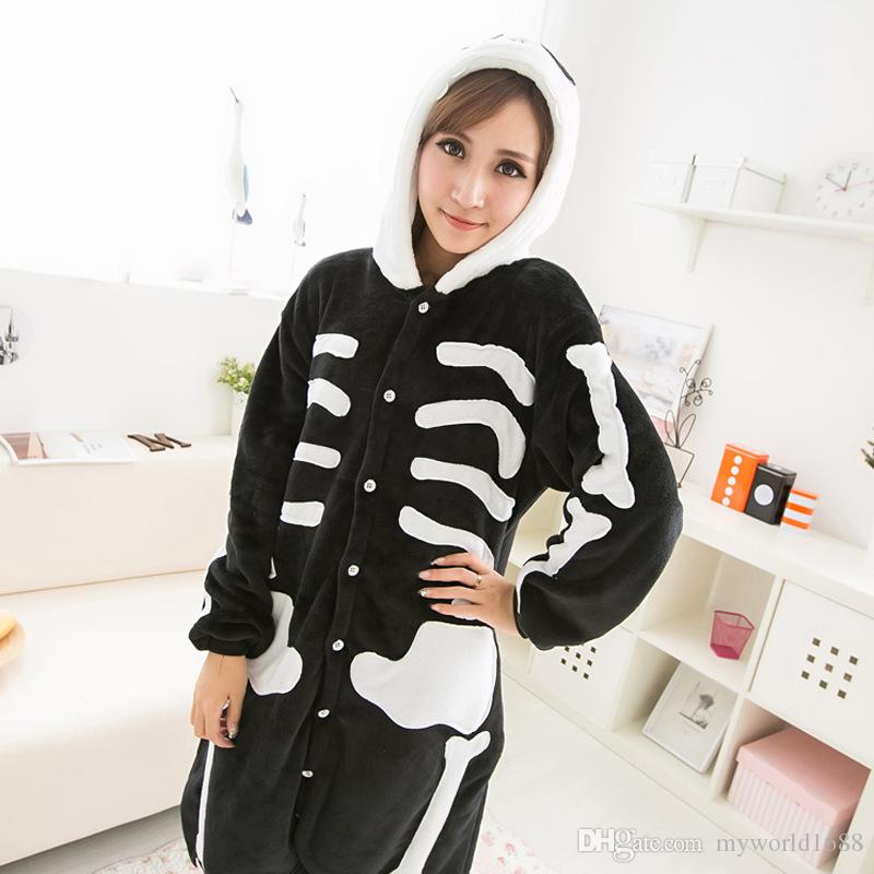 Hot Sale New Lovely Cheap Kigurumi Pajamas Anime Cosplay Costume Unisex Adult Onesie Black Skull Dress Sleepwear Halloween S M L XL
