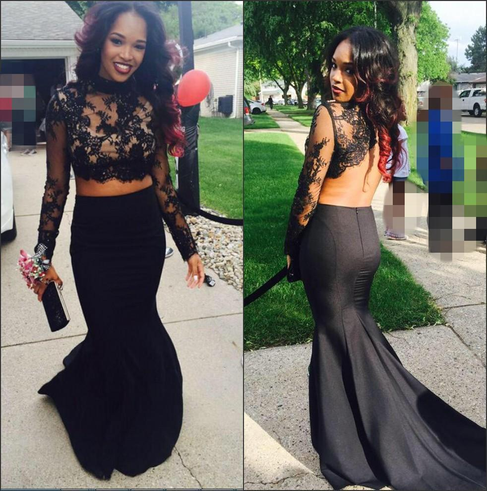2016 Two Pieces Prom Dresses Mermaid Trumpet Lace Applique High Neck Long Sleeves Satin Evening Gowns Mother of Bride Party Dress Plus Size