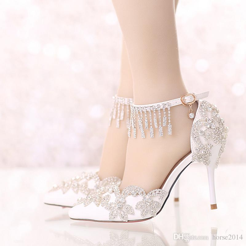 1a715ecac47 Summer Sandals White Pointed Toe Bridal Wedding Party Shoes Crystal High  Heel Bride Dress Shoes With Rhinestone Ankle Straps Princess Wedding Shoes  Satin ...