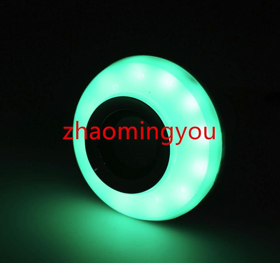 Inalámbrico E27 12W Control Remoto Bluetooth Mini Smart LED Altavoz de Audio RGB Color de Luz Bombilla Caliente Lámpara de Música
