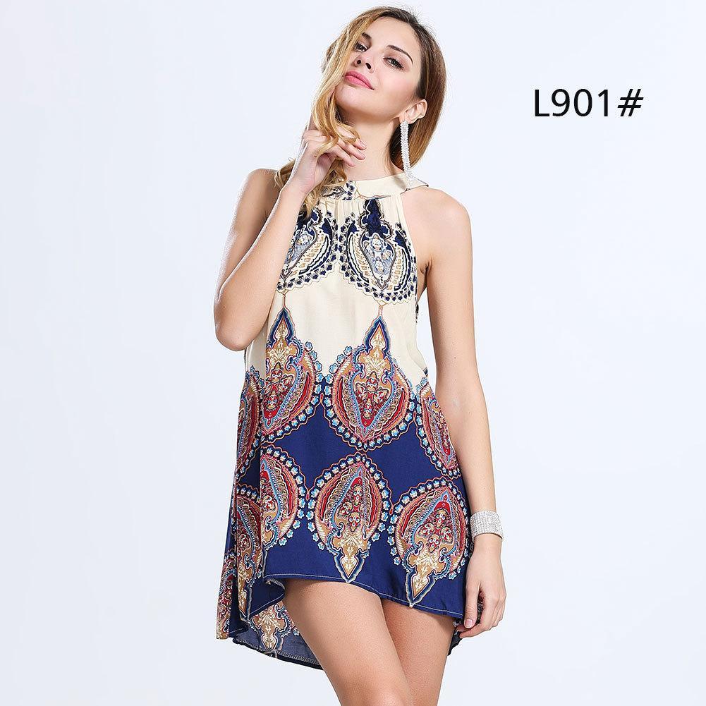 2016 New Fashion Women Short Casual Dresses Halter Sleeveless ...