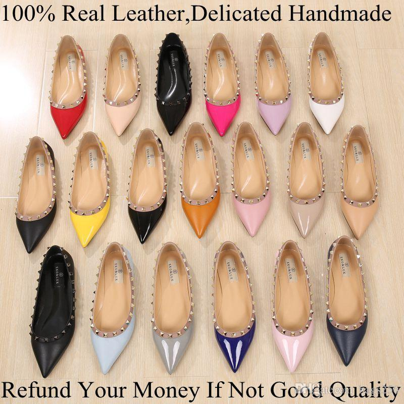 Fashion Brand Luxury Vogue Women Shoes Rivets Flats Pointed Toe Flats Metal Studded Shoes Leather Ballerina Plus size 33-43 free shipping 2014 unisex clearance view buy cheap low price buy cheap the cheapest pre order for sale fe2Tc