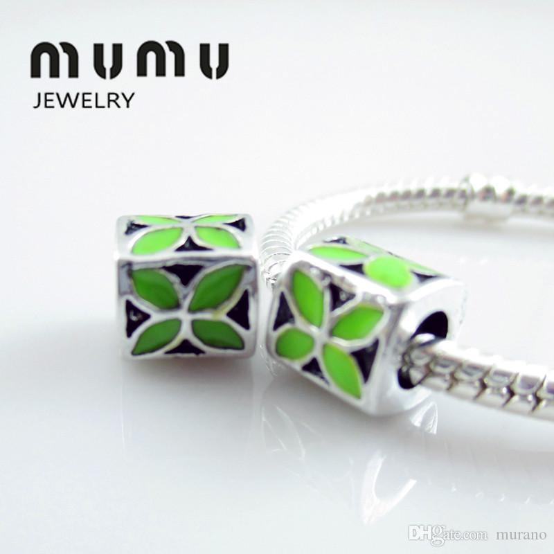 Multi-color Lucky Charm Beads Silver Plated Luck Clover Loose Beads Fits European Snake Charms Bracelets