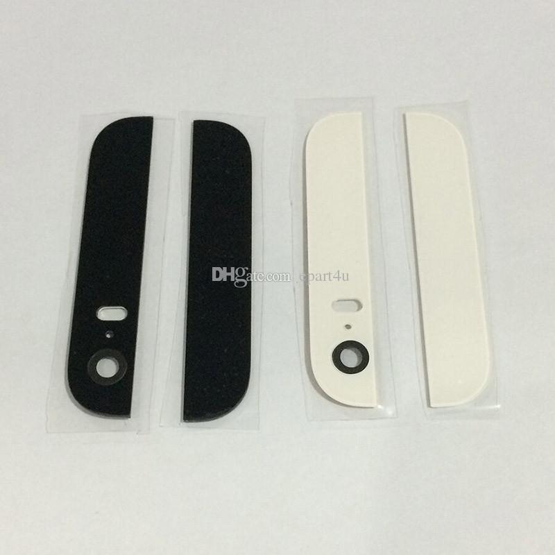 Para o iphone 5s 5g substituição habitação de reparo de peças de volta tampa de vidro superior e inferior com lente da câmera traseira flash difusor