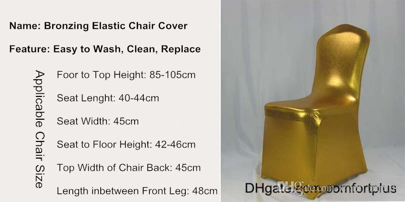 Latest Fashion Bronzing Lycra Chair Covers for Wedding Party Gold New Spandex Chair Covers for Events Festive Occasions And Hotels