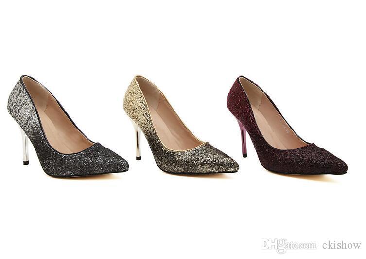 رخيصة الصيف المرأة المنخفضة قطع مضخات سيدة الراين الفضة الذهب بورجوندي أسفل أحذية عالية الكعب للإناث زفاف العروس اللباس الخامس الأحذية