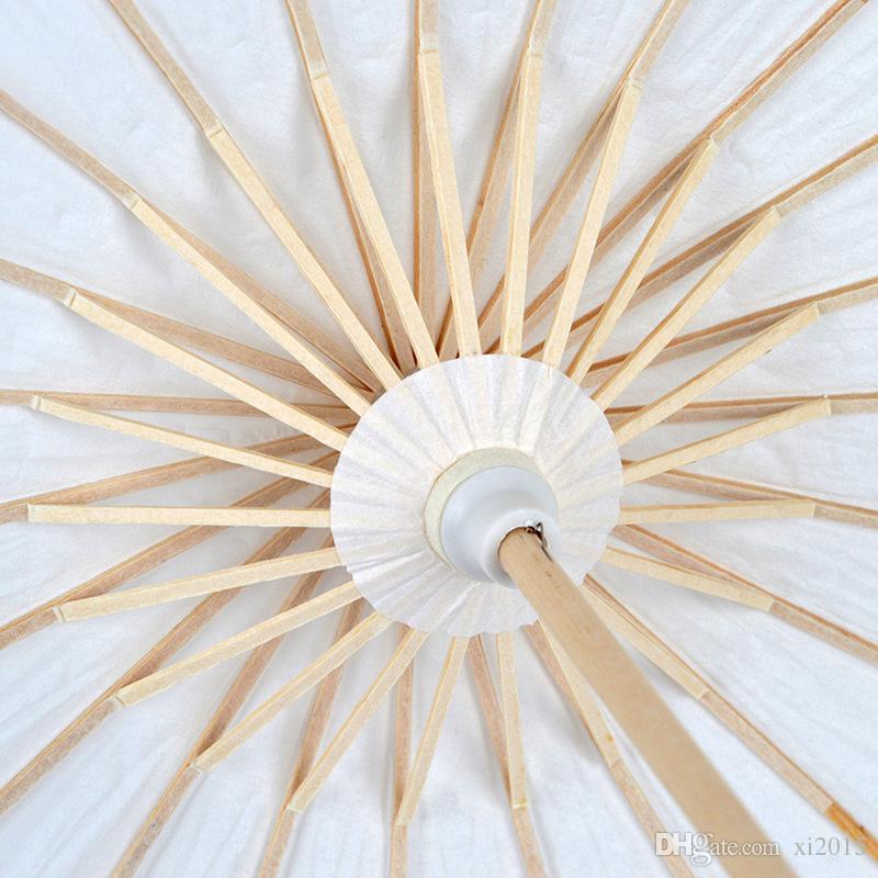 Diámetro hecho a mano 60 cm paraguas de color blanco liso chino pequeño Oilpaper Parasol decoración de la boda envío gratis wen5028