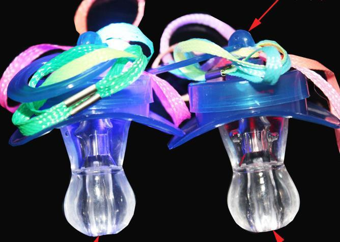 Light Up Pacifier Nipple Whistle Necklace Colorful Flash Led Whistle Stag Hen Party Concert Sports Cheering Glow Props survival tool favors