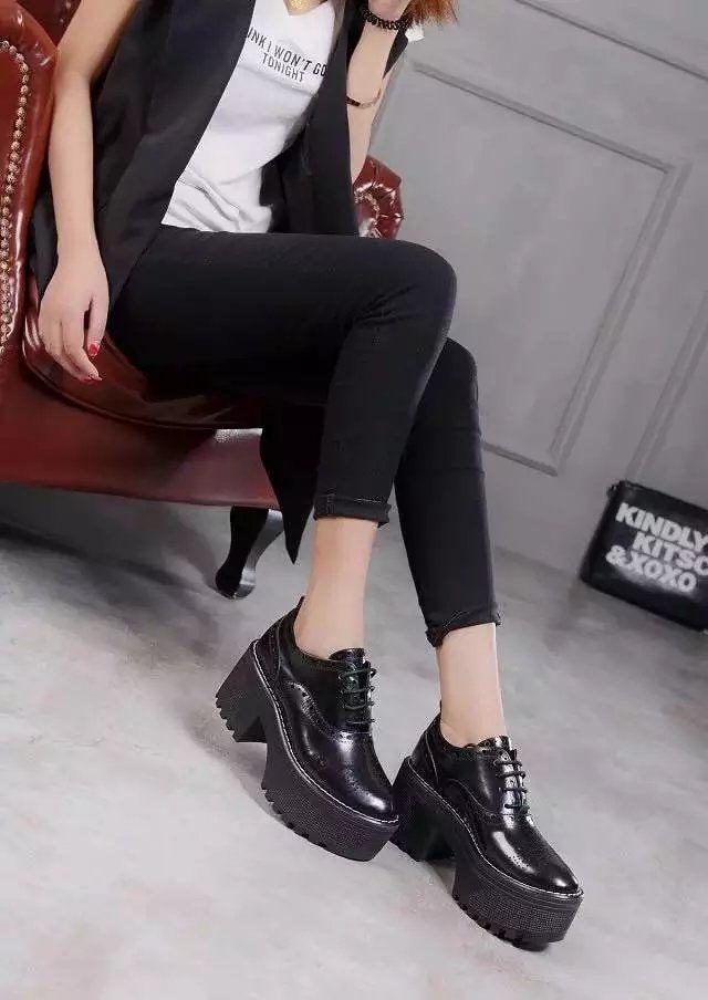 vogue choice~ u641 34 black/maroon genuine leather platform thick heel shoes l designer brand luxury runway