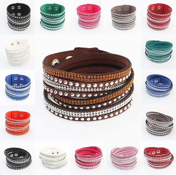 HOT Trendy Unisex Womens Mens Multi-tiered Leather Interlaced Cuff Bangle Wristband Bracelet AU Lovers Gift