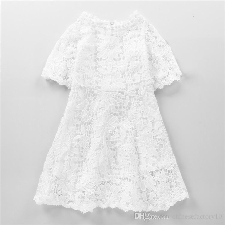 Compre Vestido De Encaje Para Niñas Littler Vestidos Blancos Puros Ropa De Boutique Vestido Encantador De Media Manga Para Niños De 3 13 Años A 724
