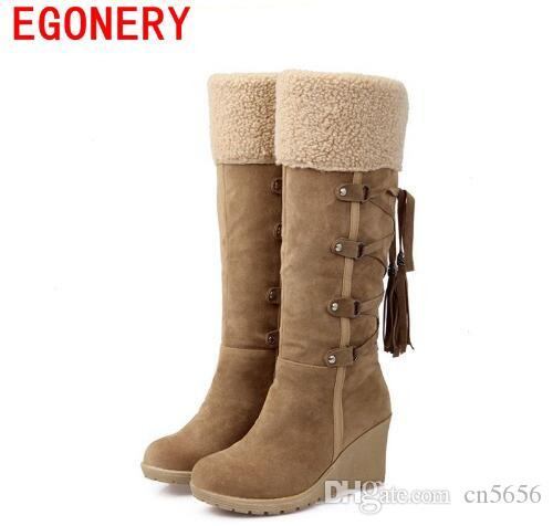 ed351311878f3 2017 Hot Sale Botas Femininas Women Winter Boots 7cm High Heels Knee High  Boots Lady Shoes Black Beige Yellow Snow Boots