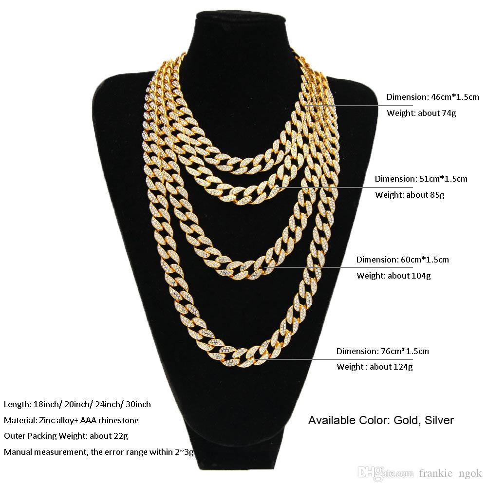 Hip Hop Jewelry ICED OUT 18K Gold Plated Full Rhinestone Curb Miami Cuban Link Chain Necklace Men Bling Rapper Accessories 4 Size Length