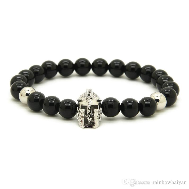 Wholesale 8mm Black Onyx Stone Beads with Micro Paved Black Zircons Spartan masks Helmet Charms Bracelets