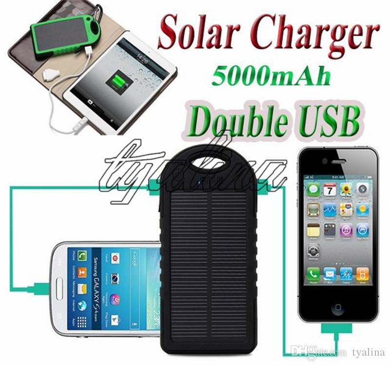 5000mah Solar Charger Power Bank 5000 mAh Waterproof Shockproof Solar Panel Battery Chargers for Phone PAD Tablets Camera Dual USB