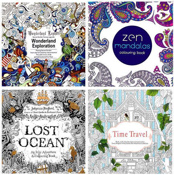 2016 Adult Coloring Books 4 Designs Secret GardenLost OceanTime