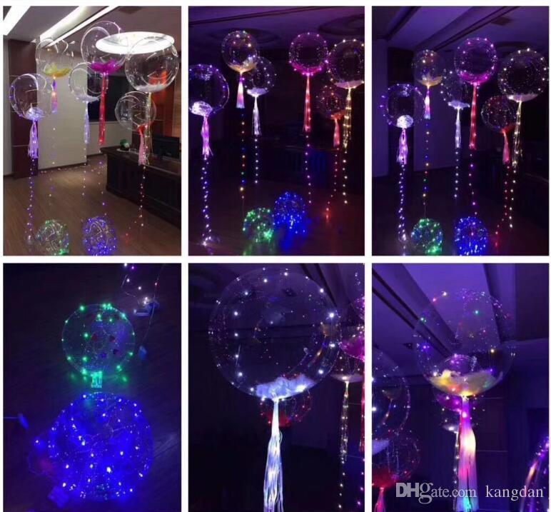 Acender Brinquedos LED Luzes Da Corda Flasher Balão de iluminação Bola de 18 polegadas de Hélio Balões de Natal Decoração de Halloween Brinquedos