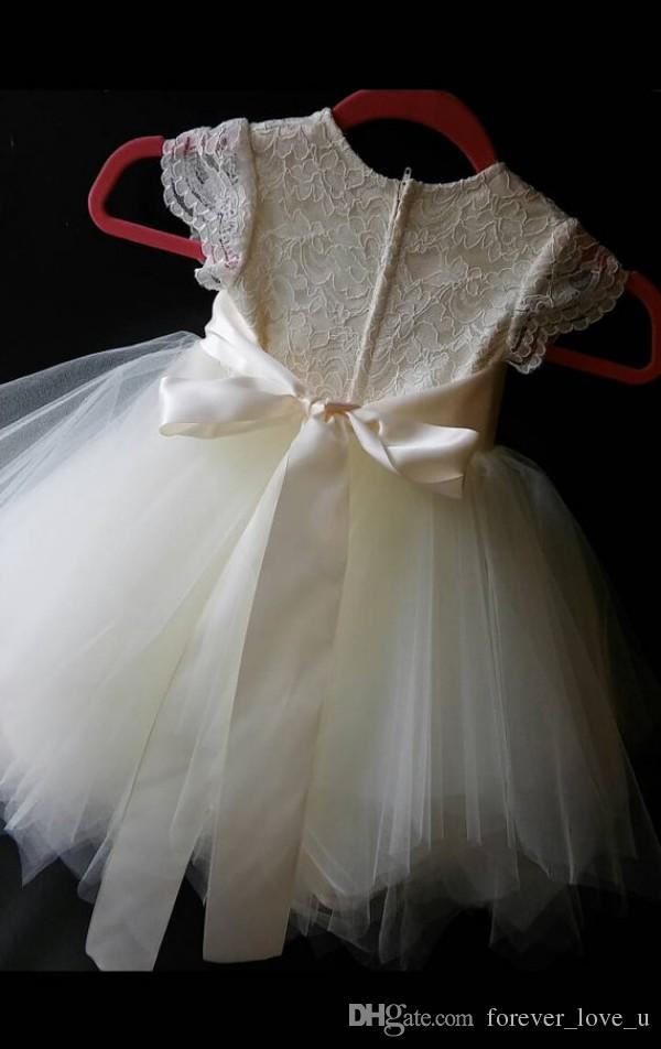 귀여운 공주 꽃 소녀 드레스 결혼식을위한 키즈 파티 드레스 레이스 얇은 명주 그물 캡 슬리브 손으로 만든 꽃 장식 띠 맞춤 제작