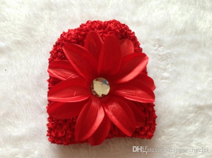 100 stks baby zachte wafel caps haken hoeden haar bloem clips muts met lelie pioen daisy bloem meisje peuter stretchy caps MZ9111