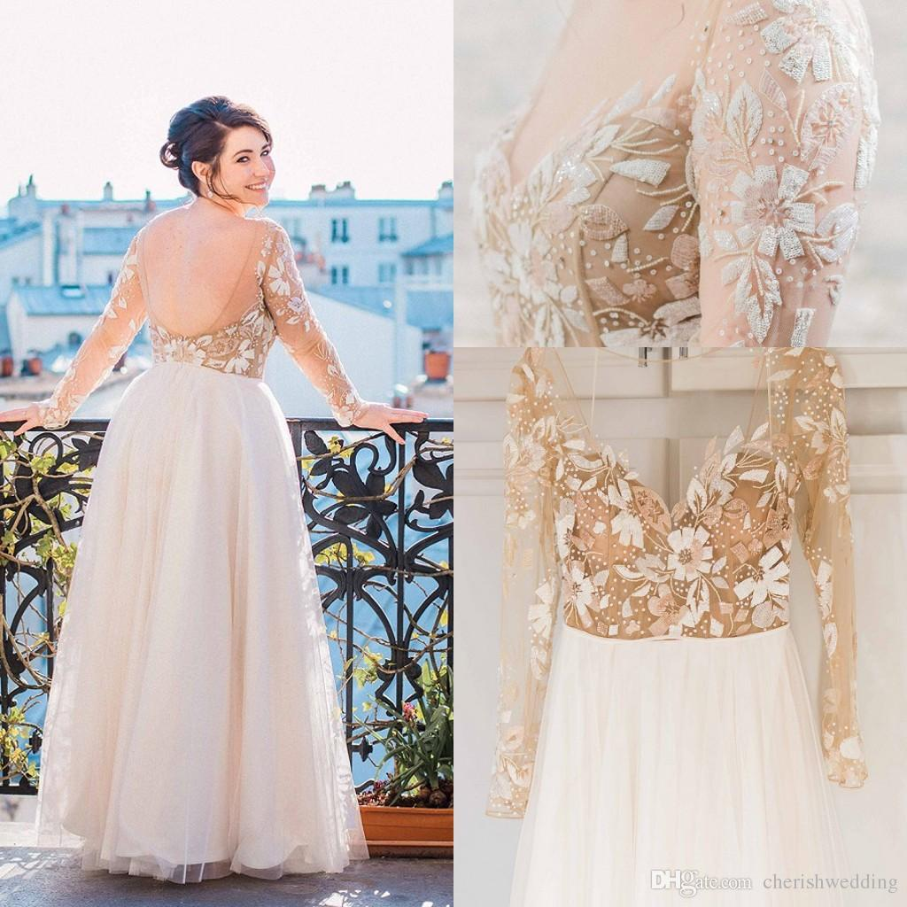 Discount Simple Elegant Open Back Long Sleeve Wedding: Elegant 2016 Plus Size Wedding Dresses Tulle Long Sleeve