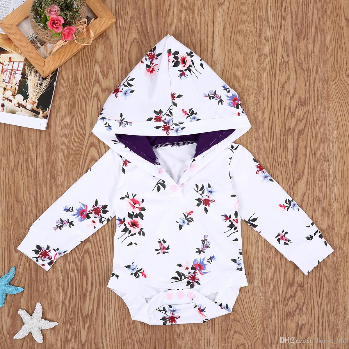 9d2993e6061b 2019 Chrismas Infant Baby Girl Flower Romper Hooded Floral Top Girls ...