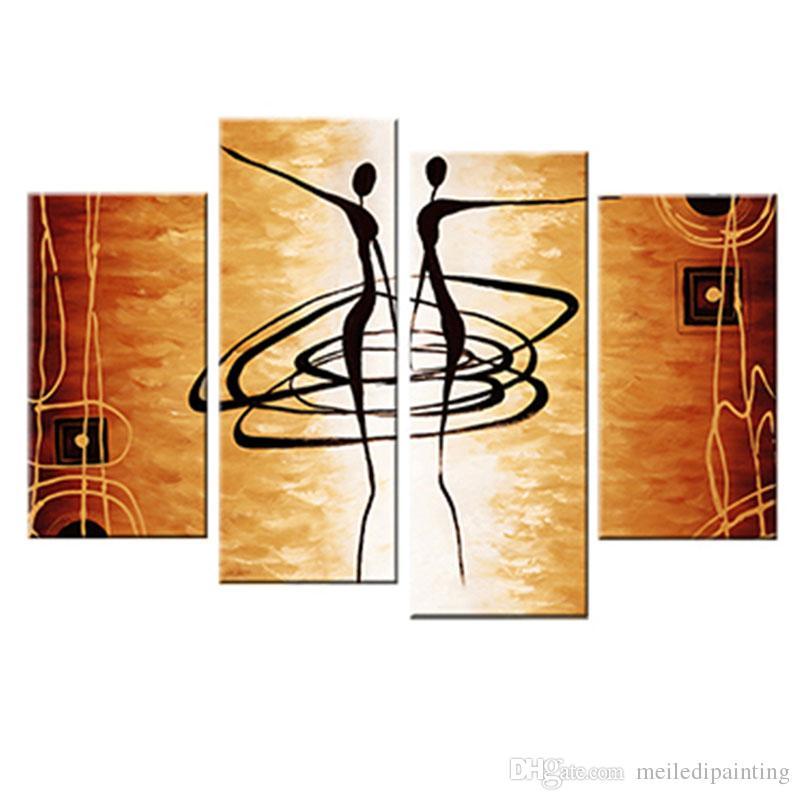 Amosi Art-4 Pezzi Dancing Donna Pittura astratta Stampa su tela Moda parete decorativa Bella ragazza Balletto con cornice in legno