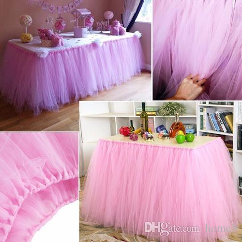7155d8653 Falda de mesa de tul TUTU Vajilla 100 * 80 cm Personalizar boda Baby Shower  Fiesta de cumpleaños Decoración