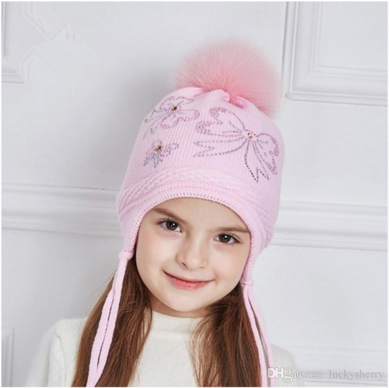 eac1a8fc77d LUCKYFUR Rhinestones Bow Knot Children Winter Hats Real Fox Fur Pompom Knitted  Hat Girl Beautiful Pink Girls Beanies Autumn Caps Skull Caps Stocking Cap  ...