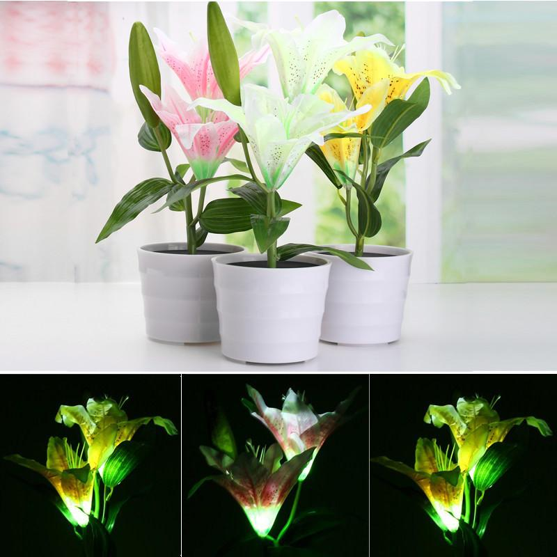 Wholesale- Mising Light Control Solar Power Flower Lily 2 LED luce solare Outdoor LED Garden Landscape Flowerpot Lampada Yard Decor