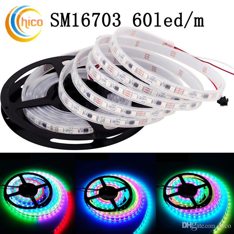 Led Strip Rgb Sm16703 60led/M Smart Ribbon Light Smd 5050 Rgb Led Strip  Dream Color Changeable Effects Waterproof Ip67 White Pcb Dc12v Usb Led Strip  Color ...