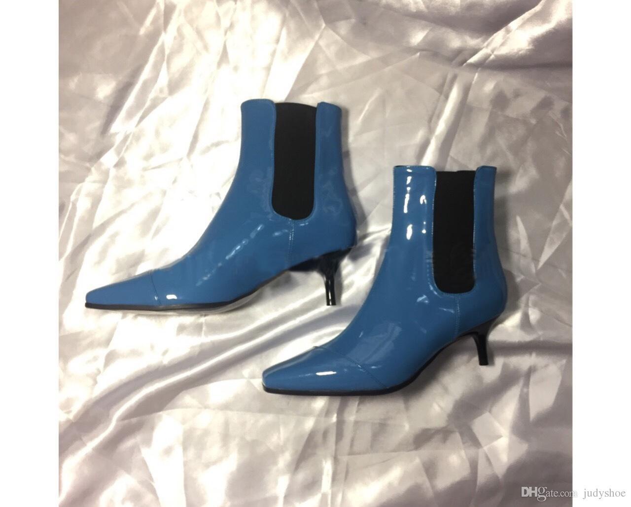2018 Nuovi stivali corti in vernice argento tacco alto blu stivaletti stile punta quadrata punta alta le scarpe da donna