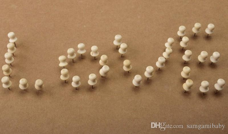 Wood Push Pins,Decorative Thumb Tacks Used on Cork Boards or Maps, Pack of Natural