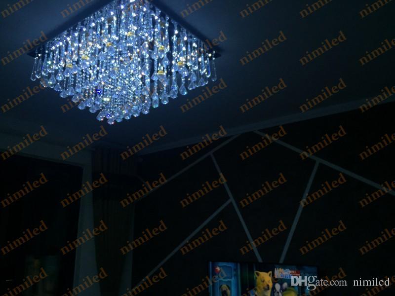 nimi840 L70cm/80cm Clear/Cognac Crystal Light Rectangular Living Room Lights Luxury Lobby Chandelier Lamp Bedroom Ceiling Pendant Lighting