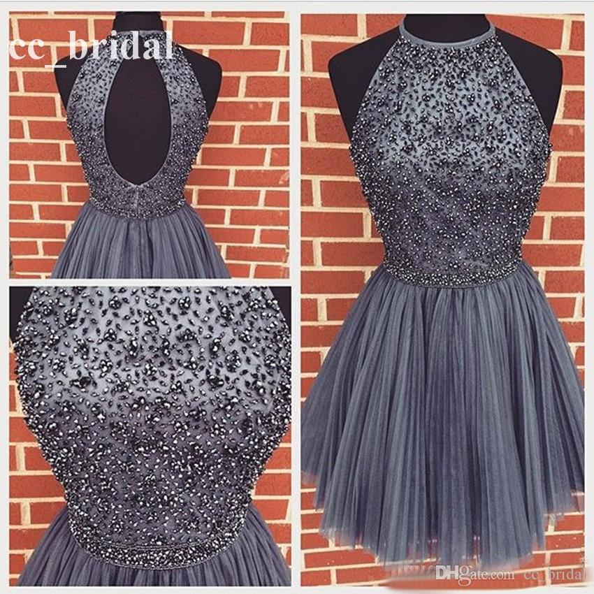 2016 Elegant Beaded Purple Gray Homecoming Dress Real Sample Short