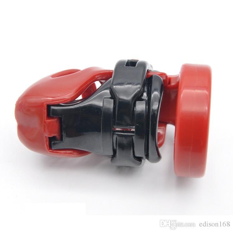 천연 수지 3D 남성 짧은 수탉 케이지 PA 잠금 4 사이즈 Penis 링 순결 장치 성인 Bondage BDSM 제품 섹스 토이 3 색 A357