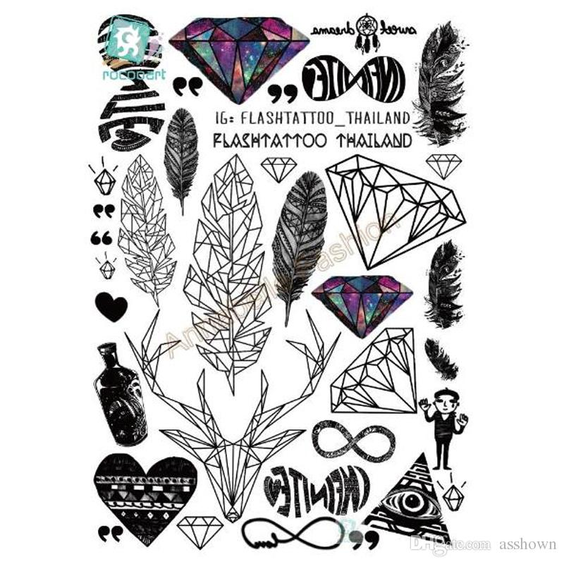 Venta caliente Tatuagem Negro Taty Body Art Pegatinas Tatuaje Temporal Feather Rainbow Diamond Glitter Tatoo Sticker
