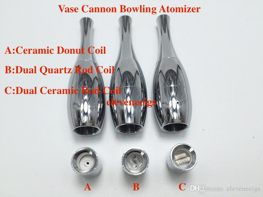 New Vase Cannon Bowling Atomizer Dry Herb Vaporizer Dual Quartz Ceramic Coil Ceramic Donut Coil for 510 EGO T Evod Twist Battery