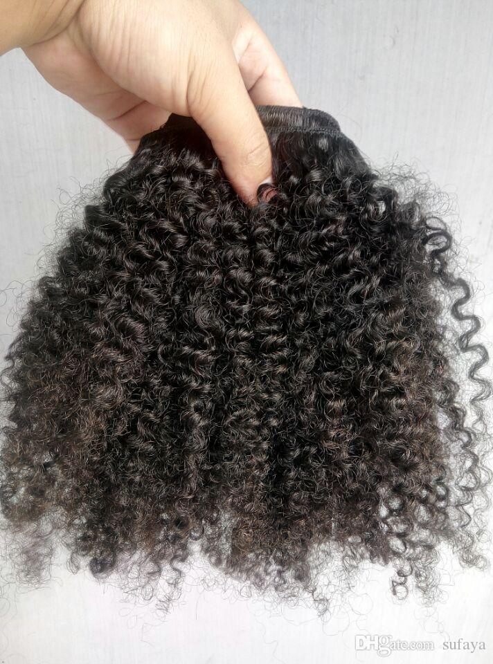 New Arrive Brazilian Human Virgin Curly Hair Clip In Human Hair Extensions Unprocessed Natural Black/Brown Color Afro Kinky Curl