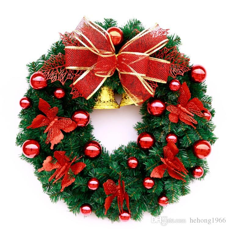 2018 merry christmas garland with small bell tree ornament display flower practical gift wreath door hanging home decor 65tz f r from hehong1966