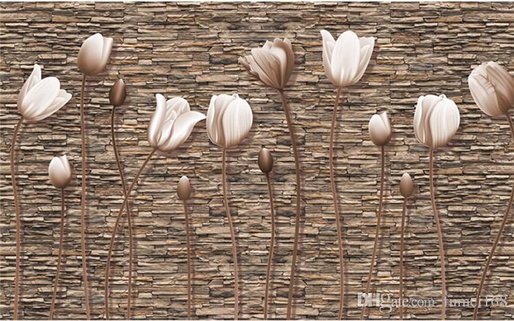 Büyük 3D Duvar Resimleri Fotoğraf Kağıdı Çiçek Oturma Odası TV Arka Plan Duvar Kağıdı için Çiçek papel para pared Müşteri