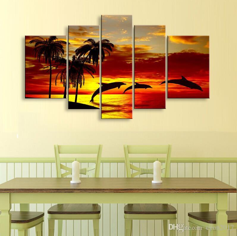 hand-painted oil wall art Sunrise beach dolphins home decoration abstract Landscape oil painting on canvas