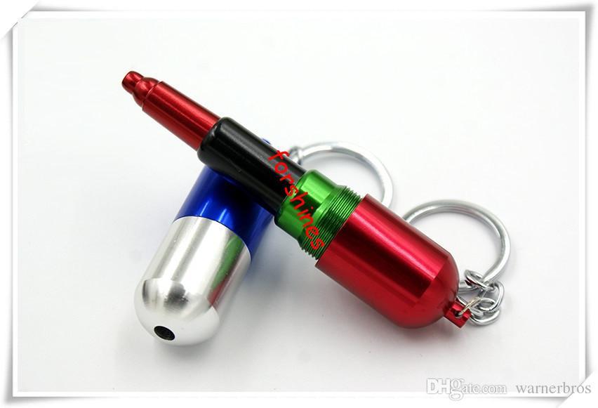 Mini Raucherpfeifen Keychain Neuheit Kapsel Form Tabakpfeife Zigarre Rohre Tragbare Metallrohre China