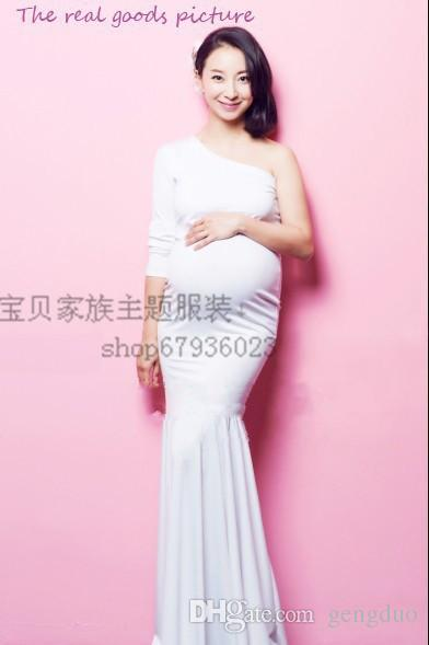 New Photography Props clothing Pregnant Women Dress Pregnancy Pure White Elegant Mermaid Photo Shoot Baby Shower