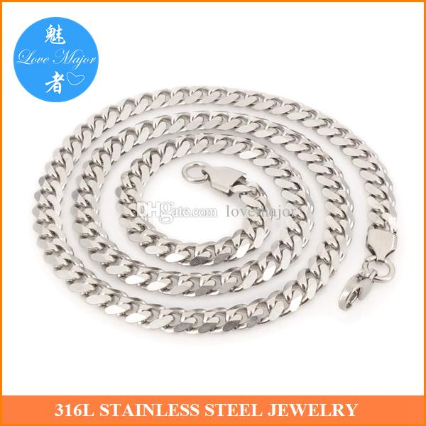 0e8b494d08e Hotest New Cuban Chain Stainless Steel Necklace Fashion Jewelry Cuban Chain  for 24inch Long And 7mm Wide MJNL-611-1 Stainless Steel Jewelry Cuban Chain  ...