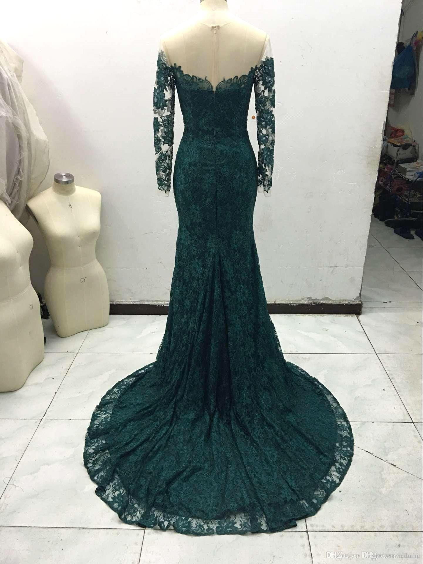 Sexy New Emerald Green Long Sleeves Lace Mermaid Evening Dresses Real Image Illusion Mesh Top Floor Length Party Prom Dresses