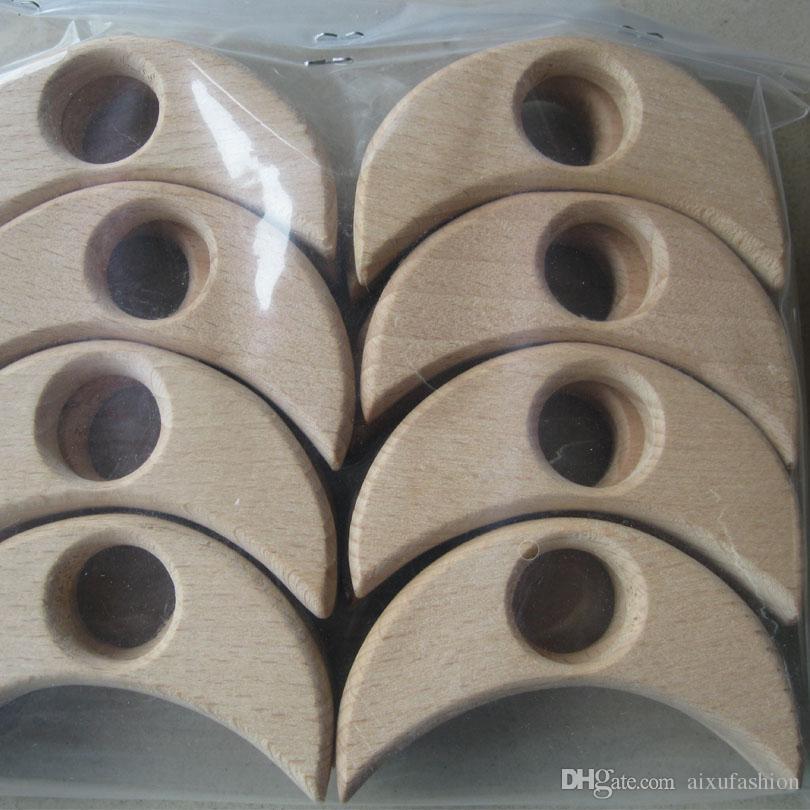 12 sztuk / partia Beech Drewniany Teeter Niedokończony Ręcznie Crafted Heart Pierścionki Drewno Koraliki Grawerowane Serce DIY Akcesoria