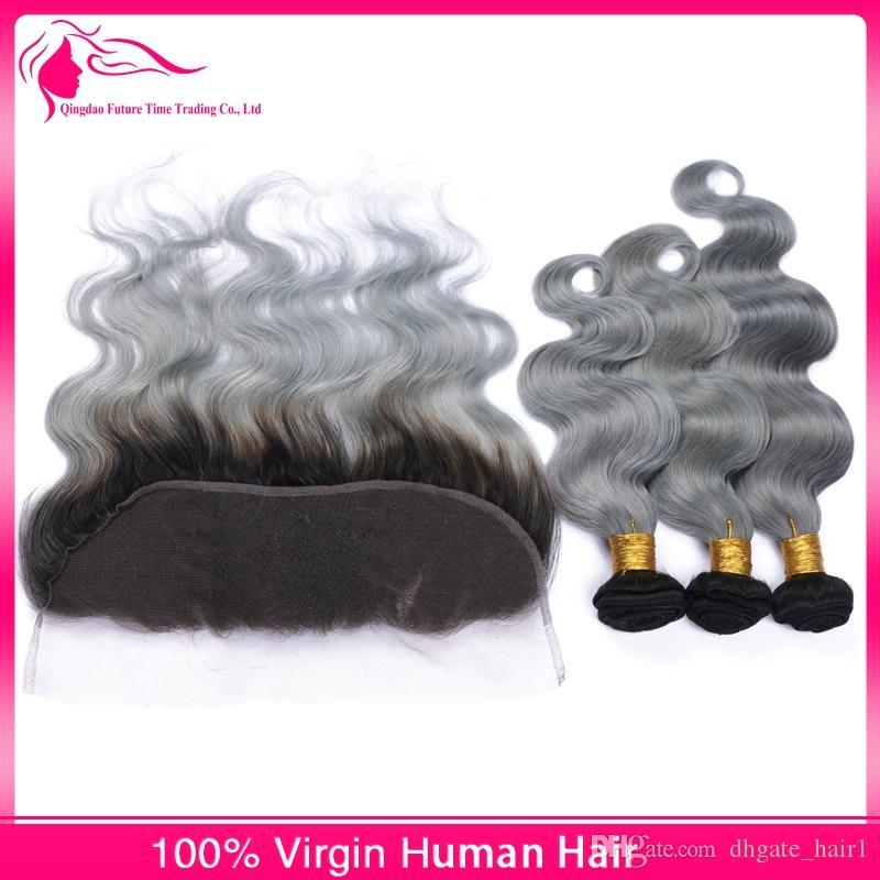 Vierge Péruvienne Ombre Cheveux Humains 3Bundles Avec 13x4 Dentelle Frontale Vague de Corps 1B / Gris Deux Tons Cheveux Humains Weaves Avec Frontals Gris Argent