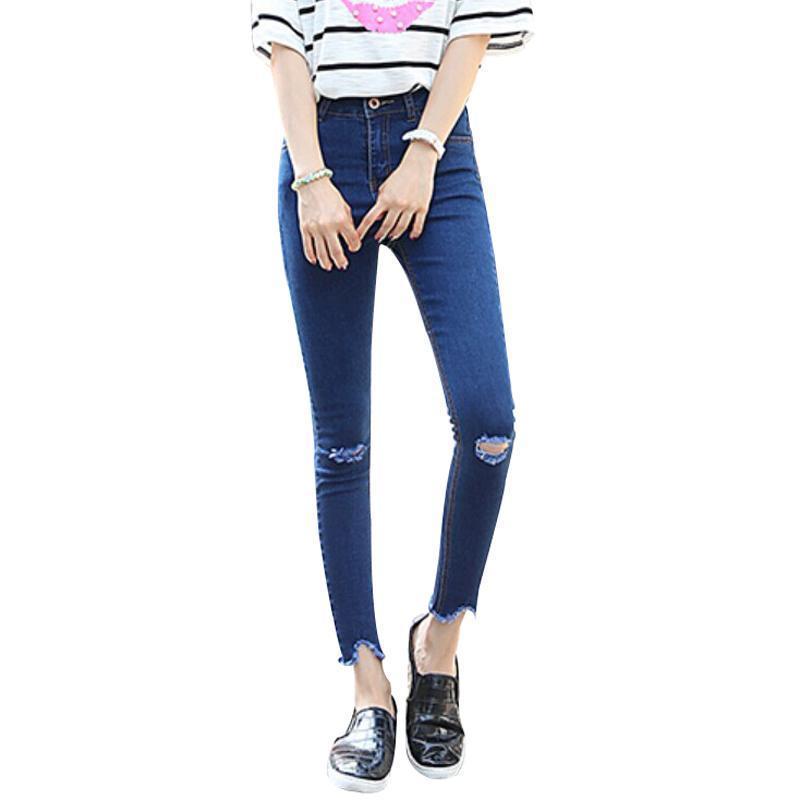 Compre Niza Nueva Llegada De Moda Jeans Mujeres Slim Elástico Flaco ...