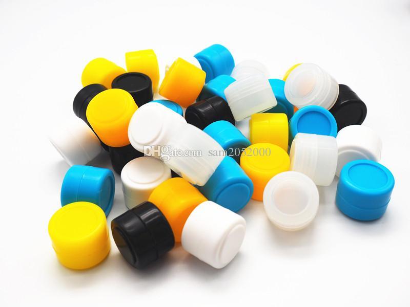 / parti 2ml mini färgglada fashionella non-stick silikonburkar dab vaxförvandrare oljebehållare för vax